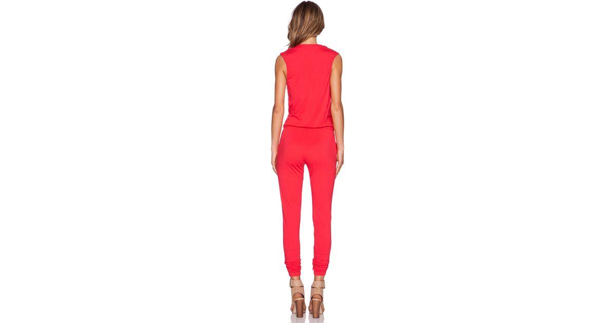 Lyst Bobi Supreme Jersey Jumpsuit In Red