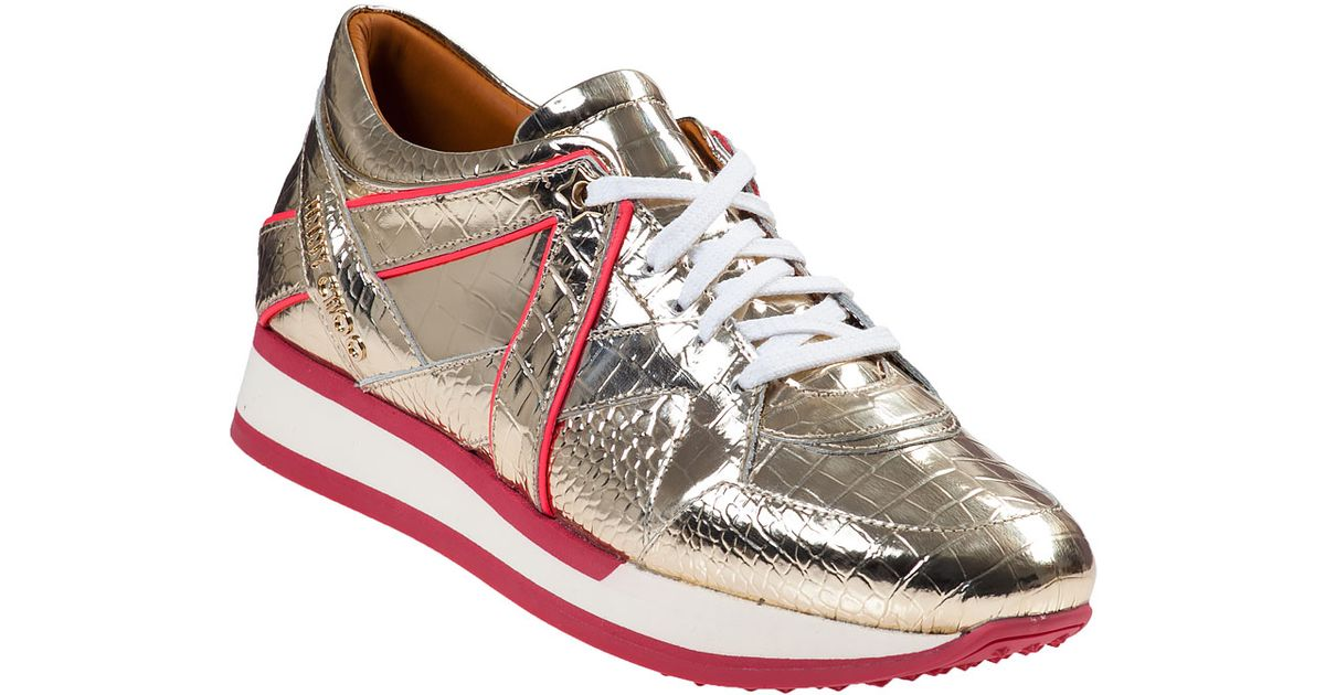 lyst jimmy choo light gold geranium london sneakers in metallic rh lyst com  jimmy choo miami sneakers gold