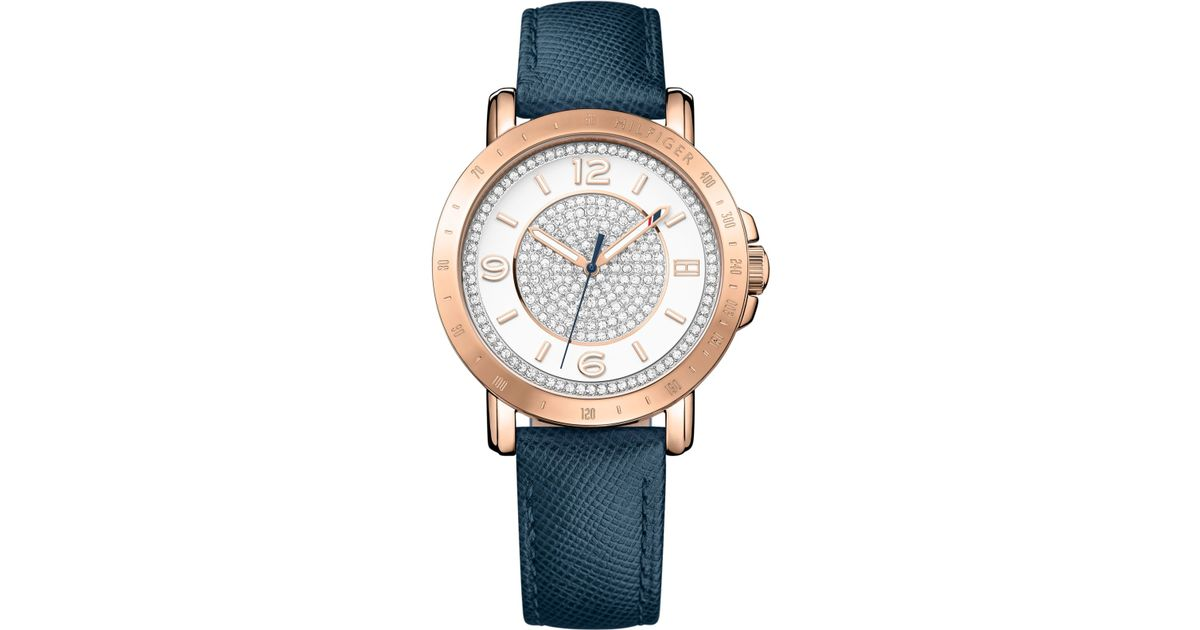 tommy hilfiger women 39 s sophisticated sport rose gold tone crystal leather strap watch 34mm. Black Bedroom Furniture Sets. Home Design Ideas