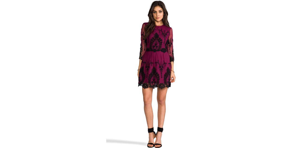 Dolce Vita Valentina Dress in Burgundy/Black (Purple) - Lyst
