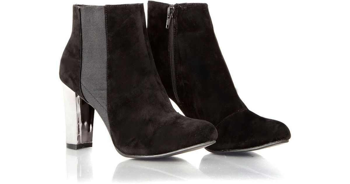 Missguided Jen Suede Silver Heel Ankle Boots in Metallic | Lyst