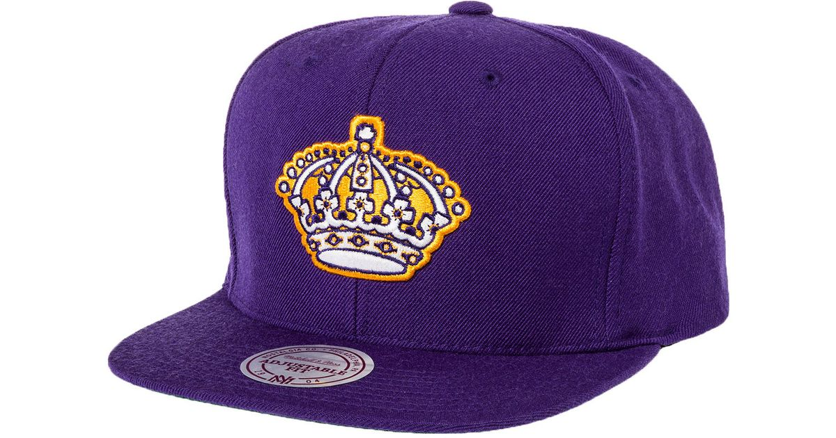 0ade01ff826 Lyst - Mitchell   Ness The Los Angeles Kings Logo Snapback Hat in Purple  for Men