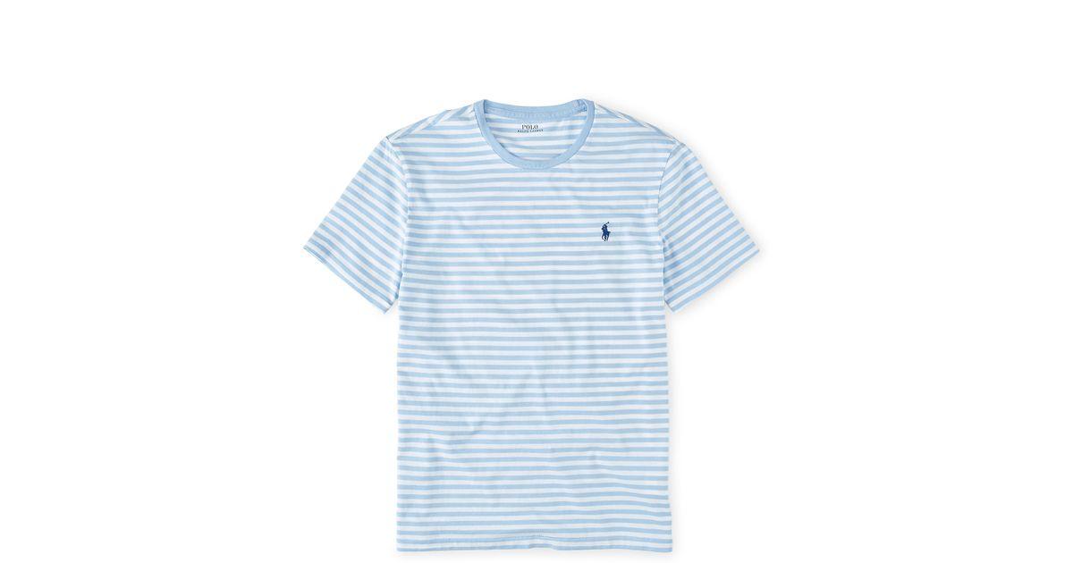 41f924fb51397 Lyst - Polo Ralph Lauren Custom-fit Striped T-shirt in Blue for Men