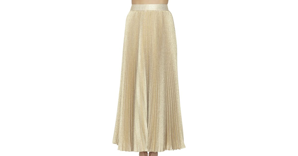 katz pleated maxi skirt in gold gold