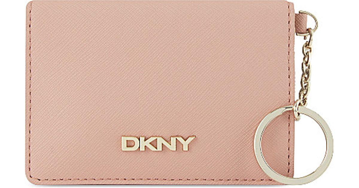dkny card holder keyring in natural lyst - Card Holder With Keyring
