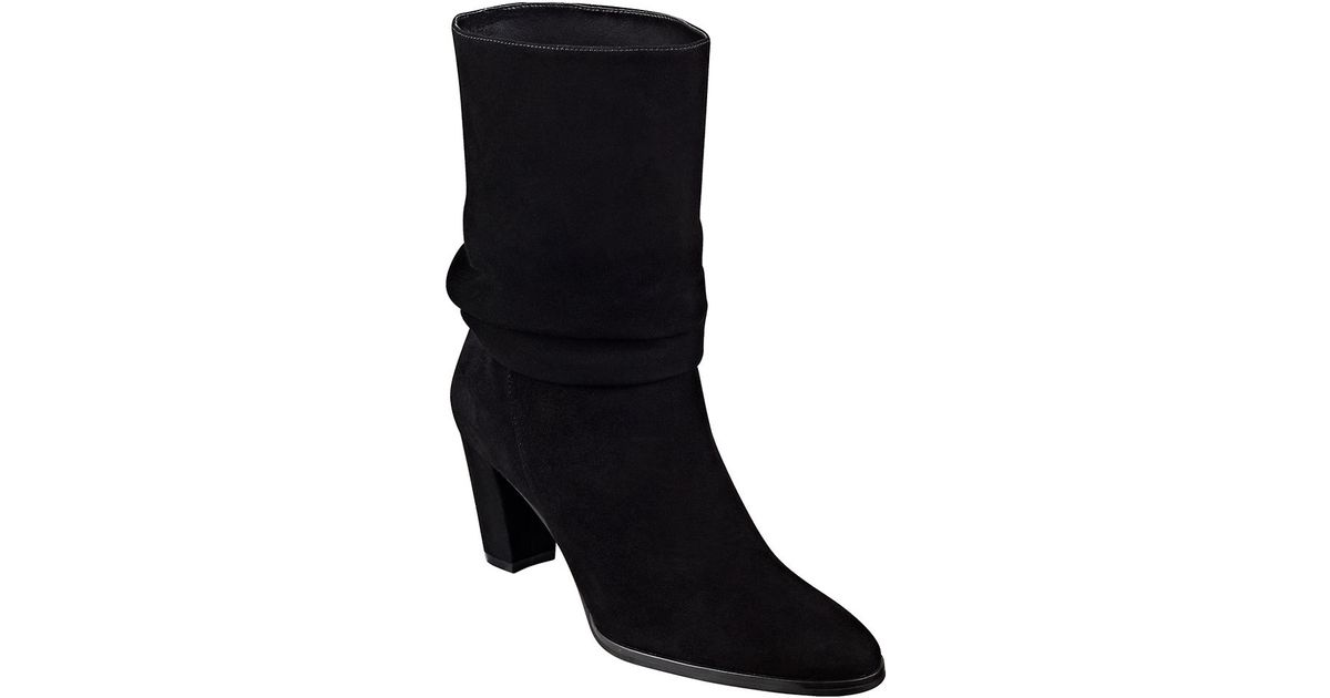 ivanka jalli suede scrunch ankle boots in black