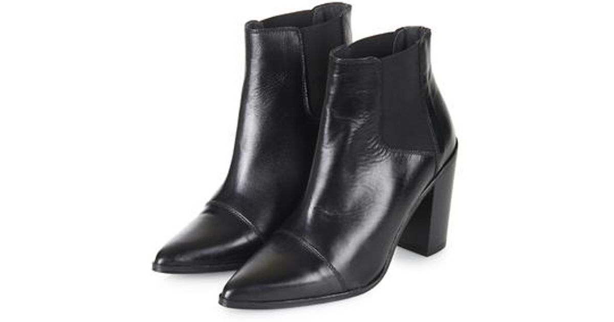 4c36f8045f9 TOPSHOP Black Monopoly Pointed Chelsea Boots