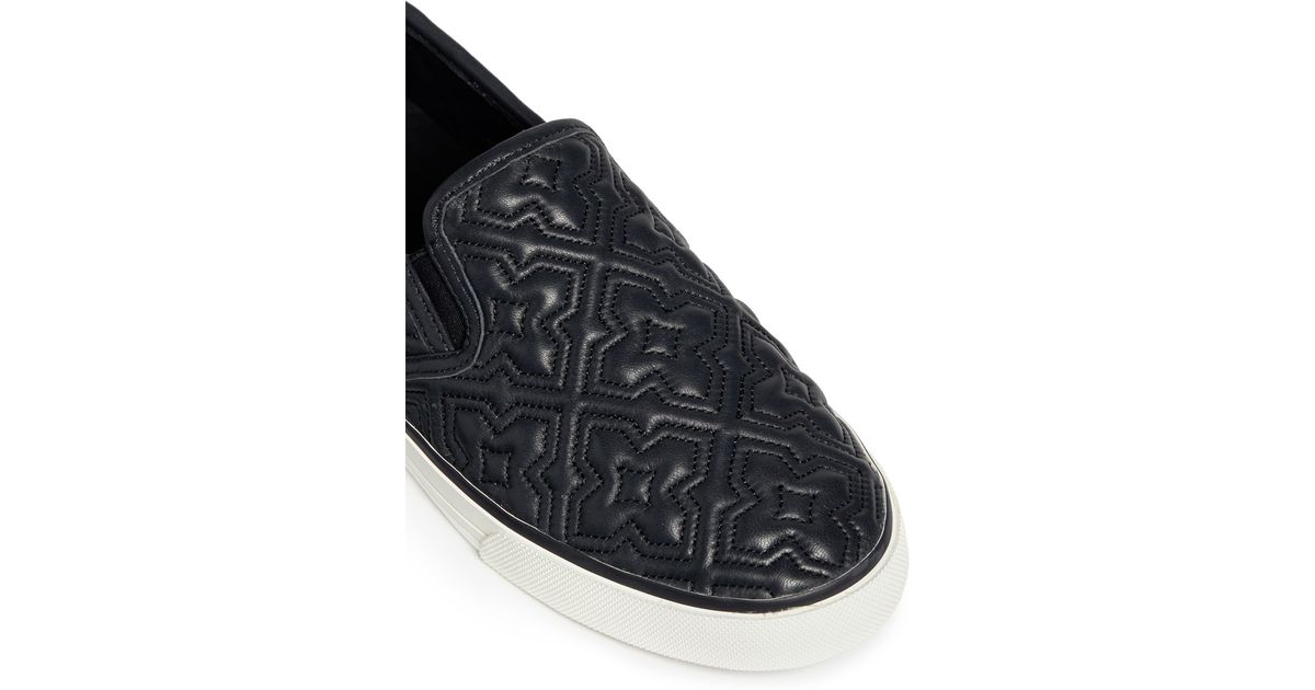 b939c623880e Lyst - Tory Burch  jesse  Quilted Leather Slip-ons in Blue