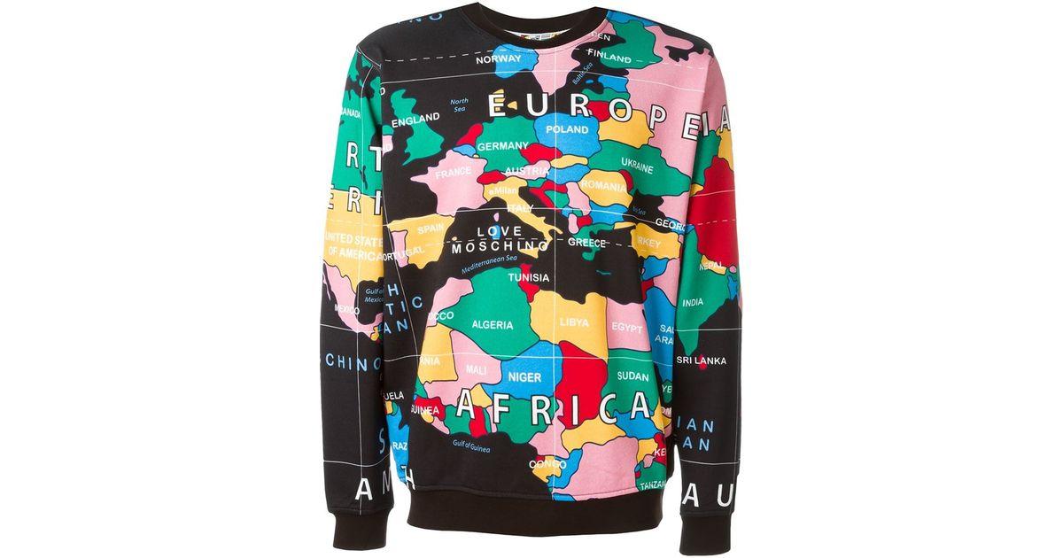 Love Moschino Map Print Sweatshirt In Black For Men Lyst