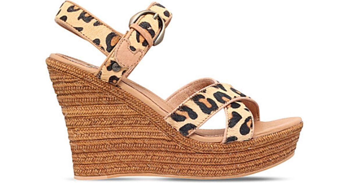 Sandals Ugg Leather Jazmine Natural Wedge XwukOPZiT