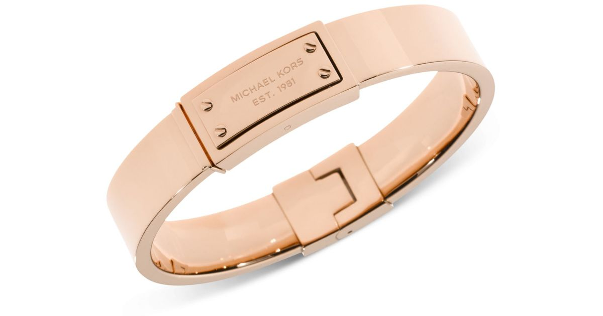 Lyst Michael Kors Rose Gold Tone Logo Plaque Bangle Bracelet In Metallic
