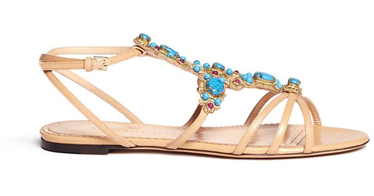 a6d7ca2e768f9 Charlotte Olympia 'Phoenix' Gemstone Appliqué Leather Sandals - Lyst