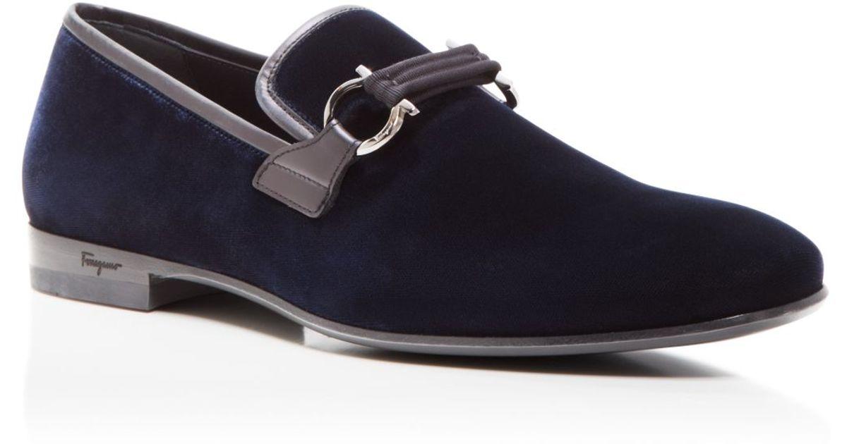 4e623eba5b3 Lyst - Ferragamo Party Velvet Loafers in Blue for Men