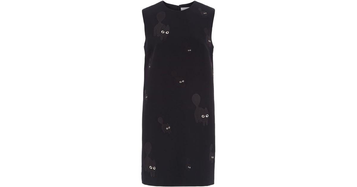 0c092f7f3 Victoria, Victoria Beckham Cat Embroidered Shift Dress in Black - Lyst