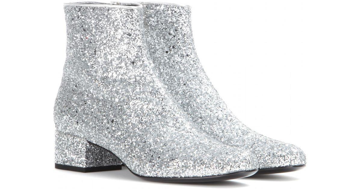 14cb09fb5ff Saint Laurent Babies Glitter Ankle Boots in Metallic - Lyst
