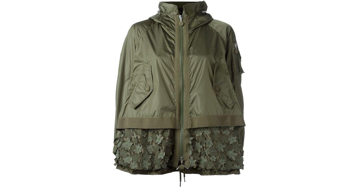 Moncler bugamville embroidered crepe jacket in khaki