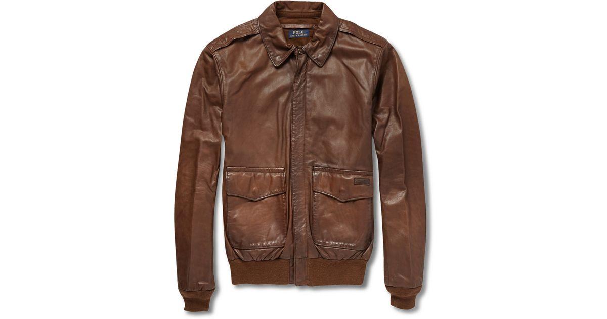 61dda2e63 Polo Ralph Lauren Brown Farrington Leather Bomber Jacket for men