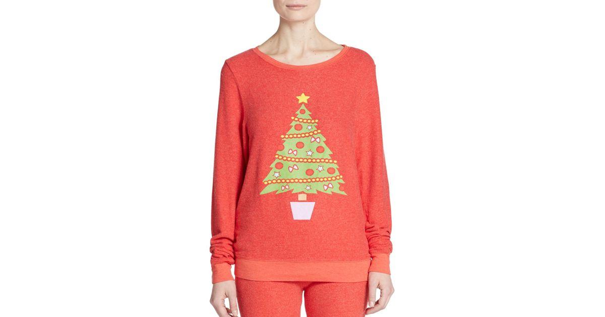 Wildfox Christmas Sweater.Wildfox Pink Christmas Tree Graphic Sweatshirt