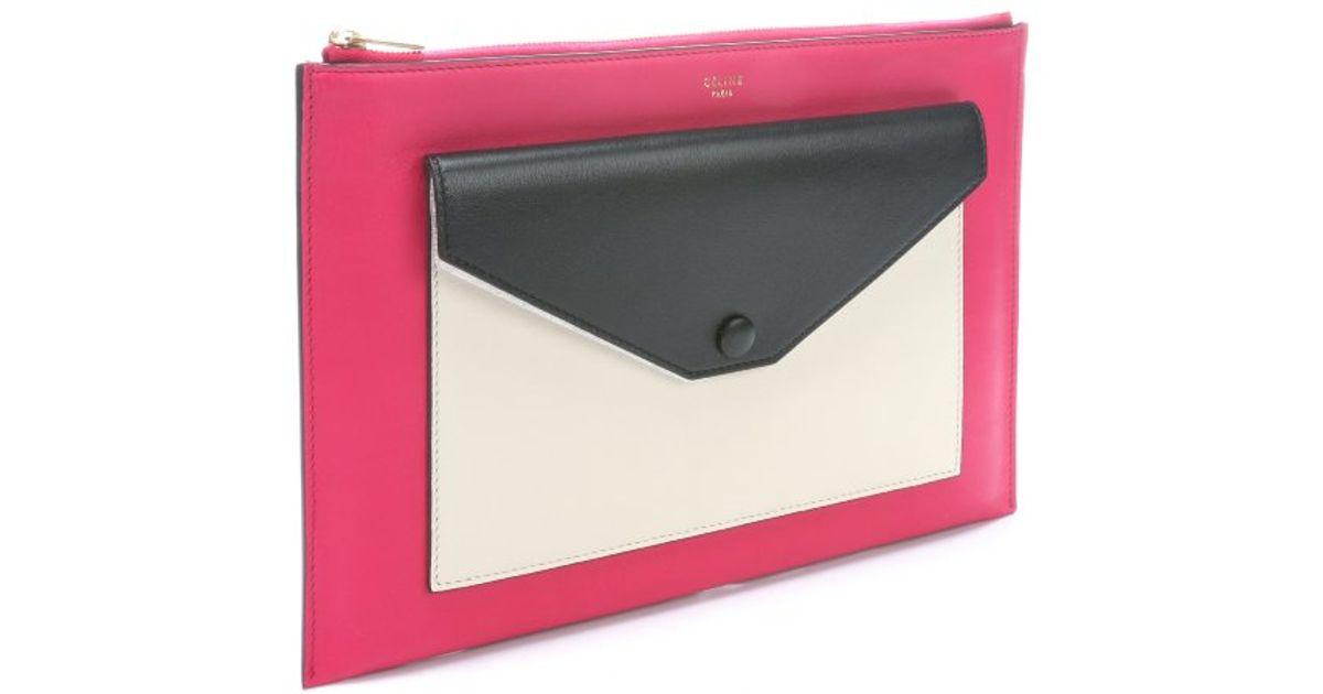 C��line Fushia Leather Flap Pocket Clutch in Pink | Lyst