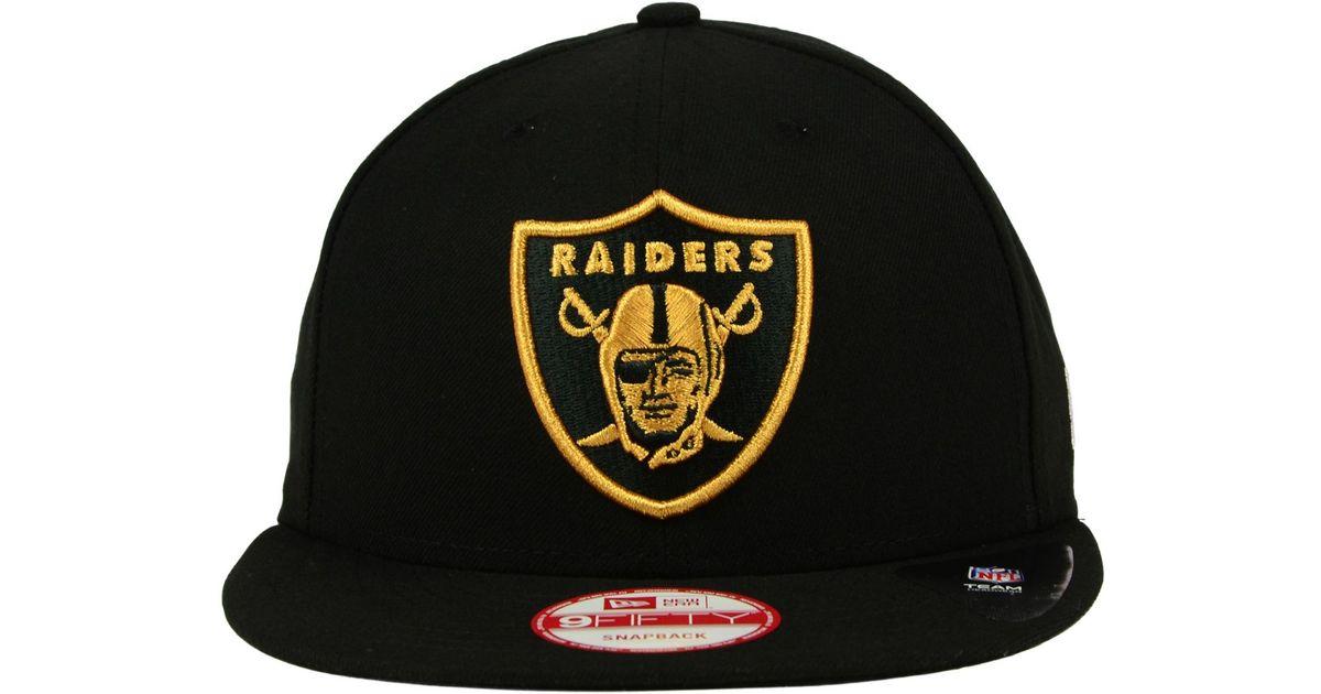 b7ffb054 KTZ Oakland Raiders Black Metallic Gold 9fifty Snapback Cap for men