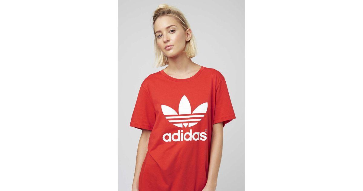lyst topshop drei streifen von adidas originals in rot.
