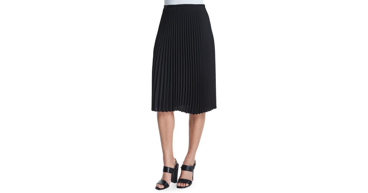 michael kors micro pleated a line skirt in black save 73