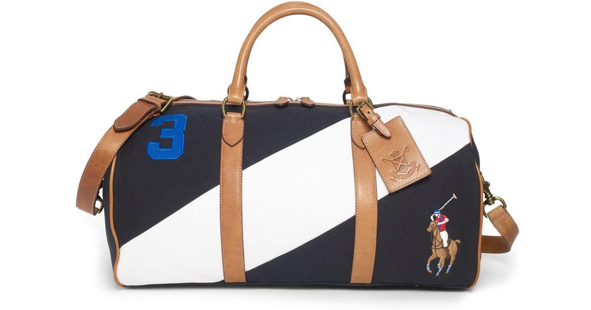 b64bbe9e14 Lyst - Polo Ralph Lauren Canvas Black Watch Leather Detail Duffel Bag in  Black for Men