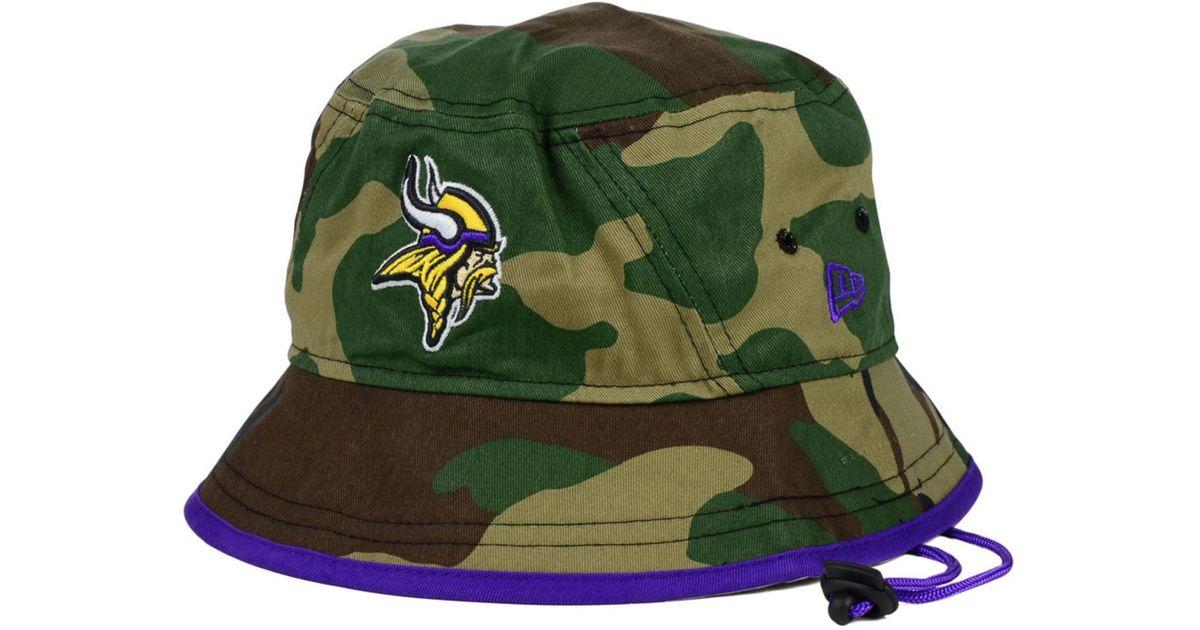 b113ba1c KTZ Green Minnesota Vikings Camo Pop Bucket Hat for men