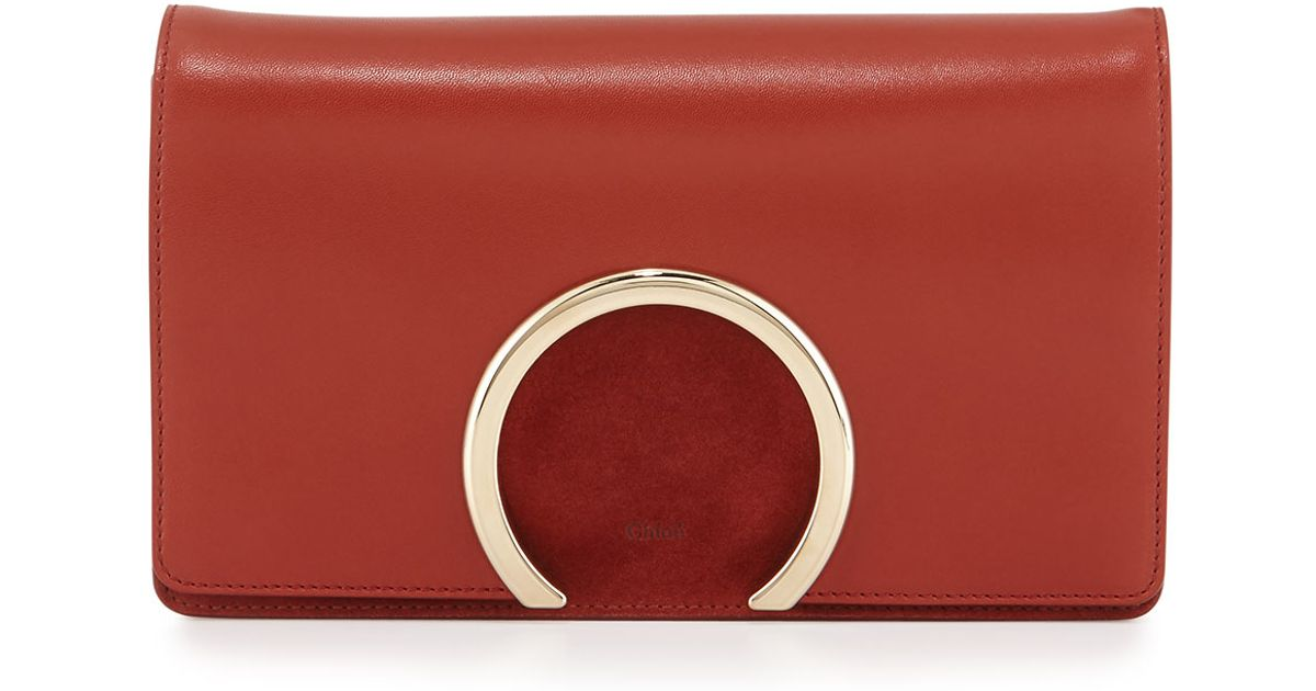 Chloé Red Gabrielle Lambskin Clutch Bag