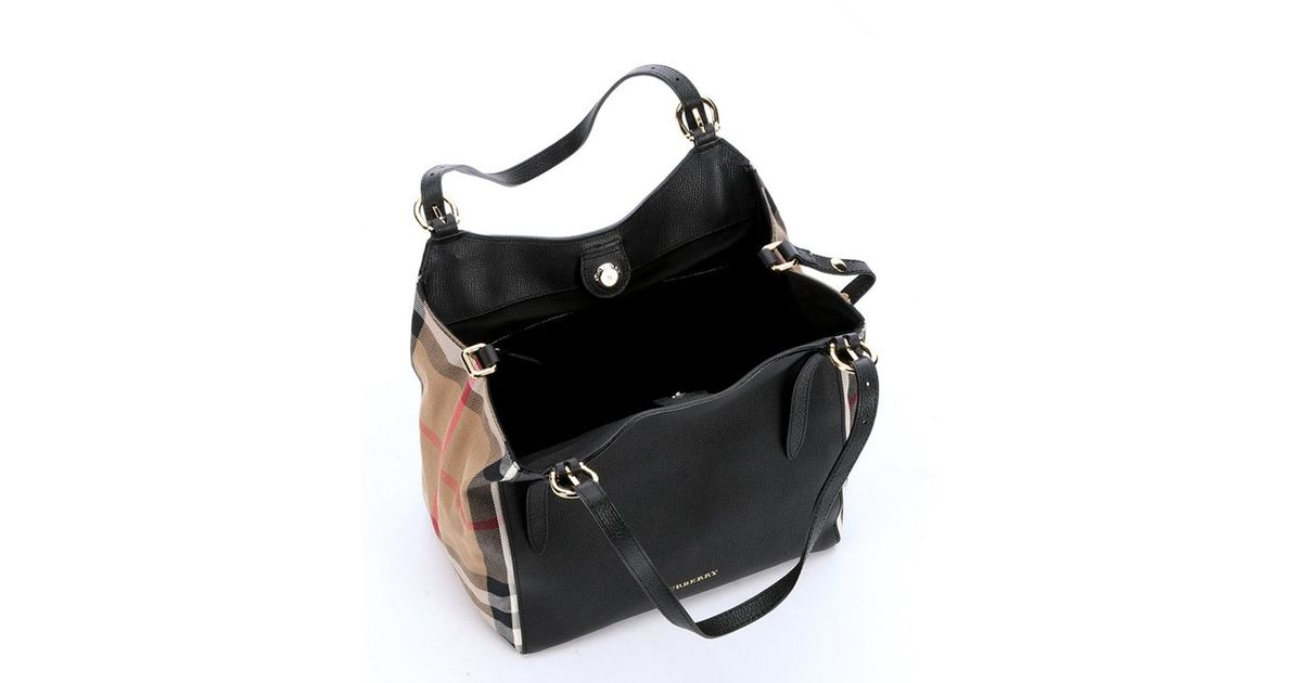 burberry black leather and house check small canterbury tote bag in black lyst check small