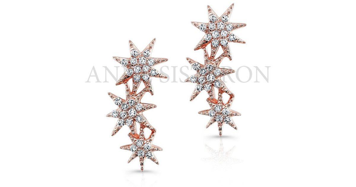 Betere Anne Sisteron 14kt Rose Gold Diamond Triple Starburst Earrings in IM-49