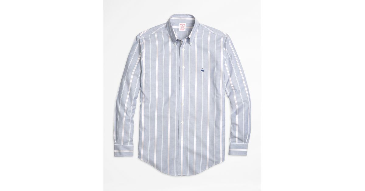 Brooks brothers non iron madison fit wide stripe sport for Brooks brothers non iron shirts review