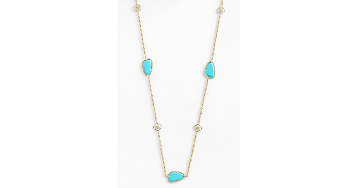 29f62e56f Kendra Scott 'kinley' Long Station Necklace - Turquoise/ Gold (nordstrom  Exclusive) in Blue - Lyst