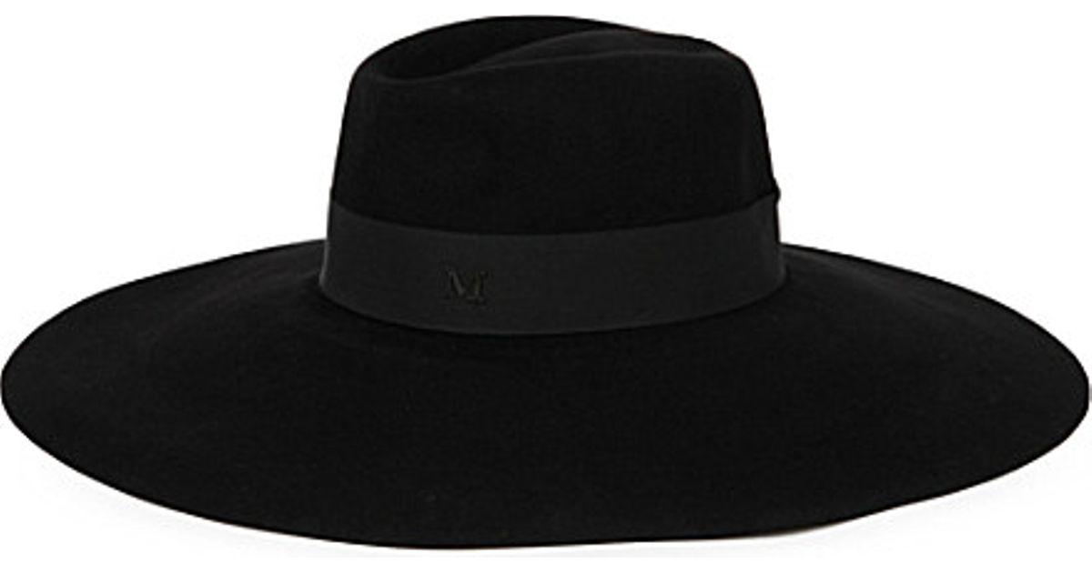 3a3923cbc5f2ef Maison Michel Fara Wide-brimmed Felt Fedora Hat in Black - Lyst