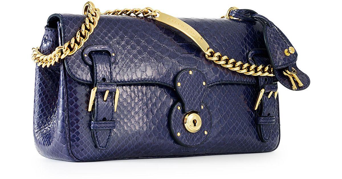 04a0f9923a ... handbags ada6a 979f0  wholesale lyst ralph lauren python ricky id chain  bag in blue 7a815 e50fc