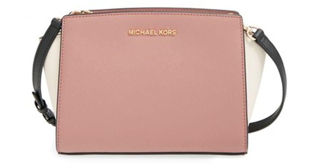 11d7a2787fd1 Lyst - MICHAEL Michael Kors  selma - Medium  Saffiano Leather Messenger Bag  in Pink