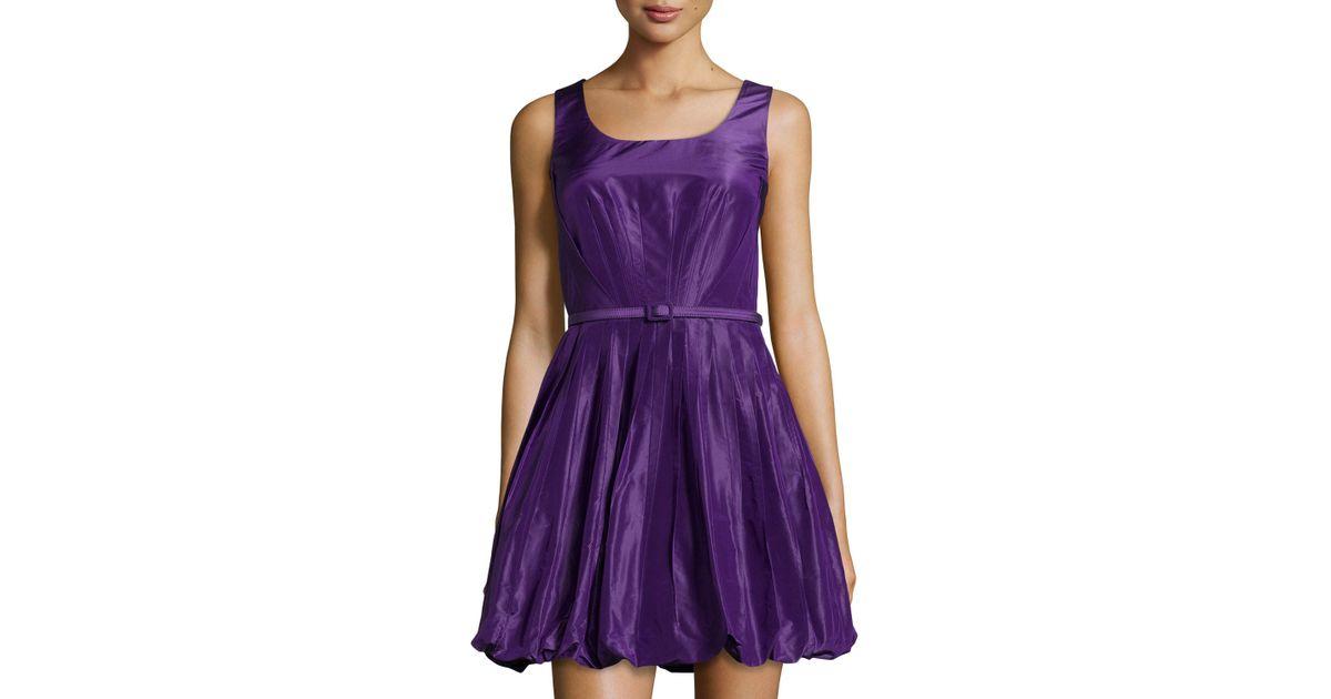 Lyst - Oscar De La Renta Pleated Fit-and-flare Bubble Dress in Purple