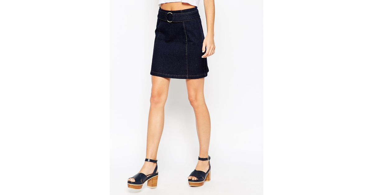 asos denim a line skirt with circle buckle in indigo in