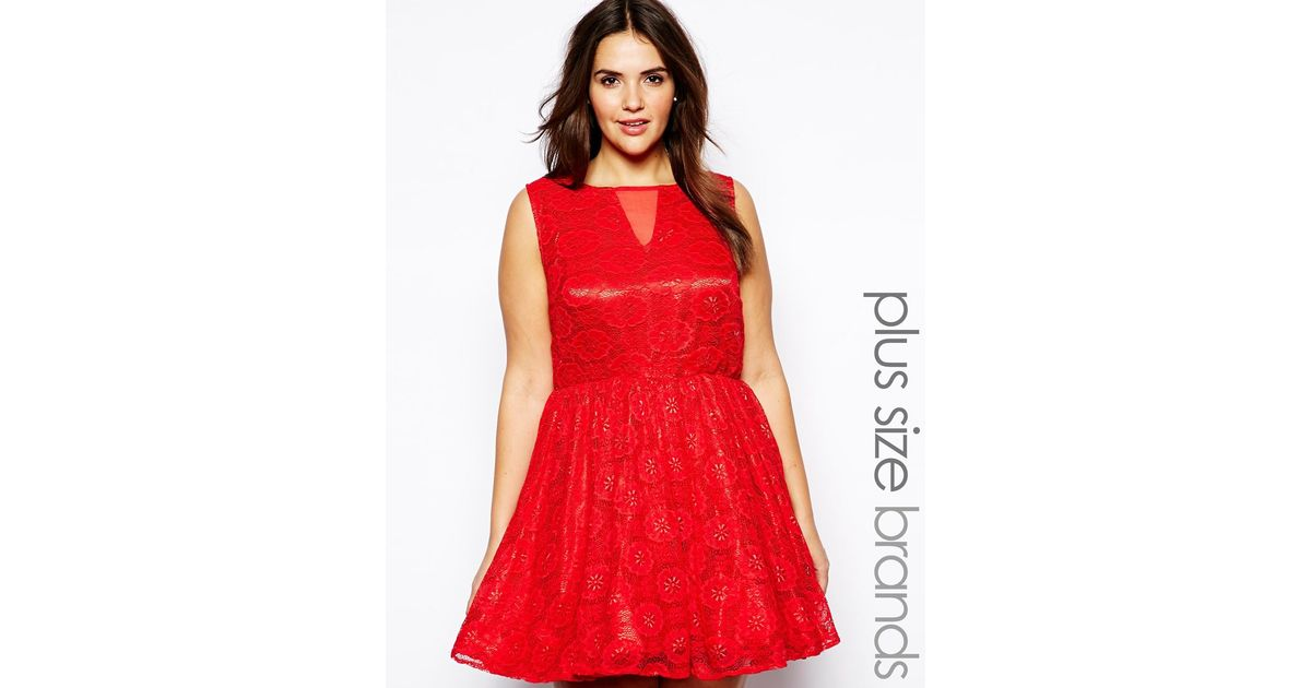 AX Paris Plus Size Lace Mesh Skater Dress in Red - Lyst