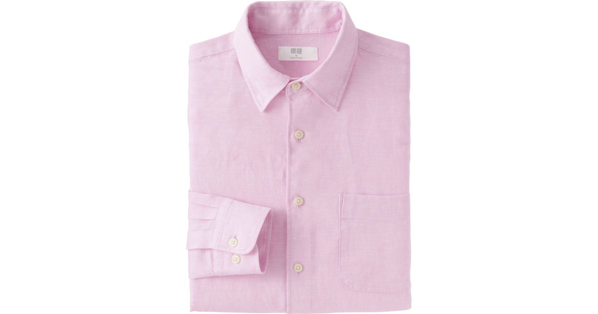 Uniqlo men 39 s premium linen long sleeve shirt in pink for for Uniqlo premium t shirt