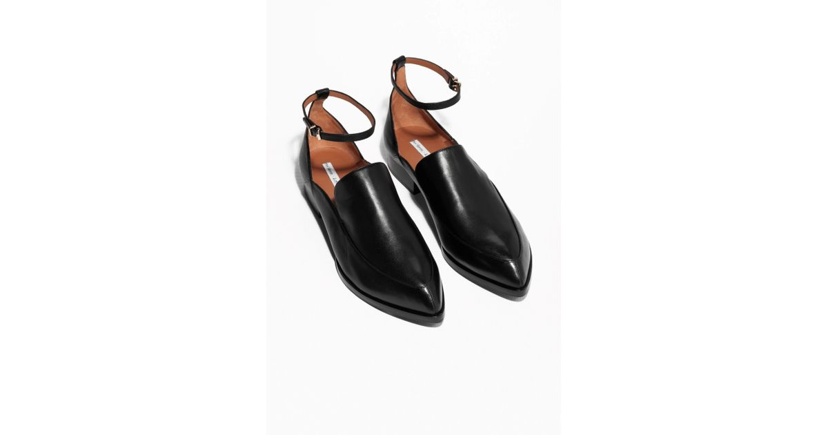 e0a073e751ce   Other Stories Ankle Strap Leather Loafers in Black - Lyst