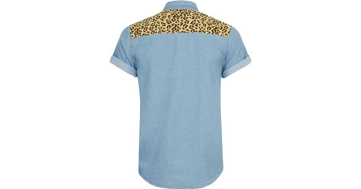 0b227ae257de TOPMAN Blue Leopard Print Yoke Short Sleeve Denim Shirt in Blue for Men -  Lyst