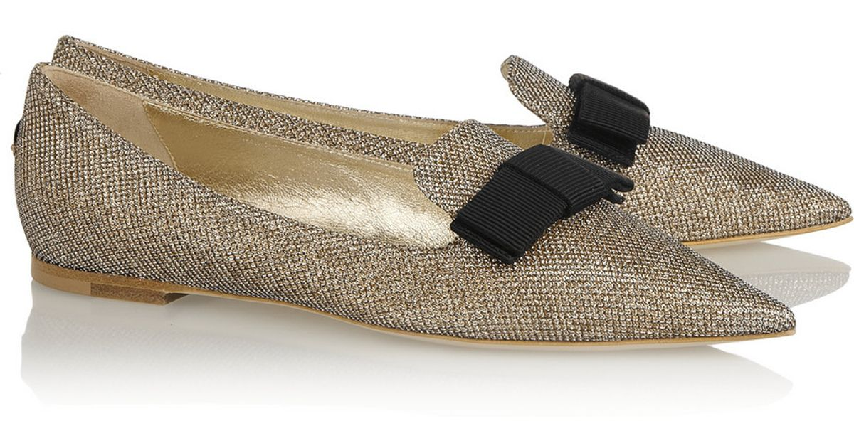 921034be9 Jimmy Choo Gala Textured-Lamé Point-Toe Flats in Metallic - Lyst