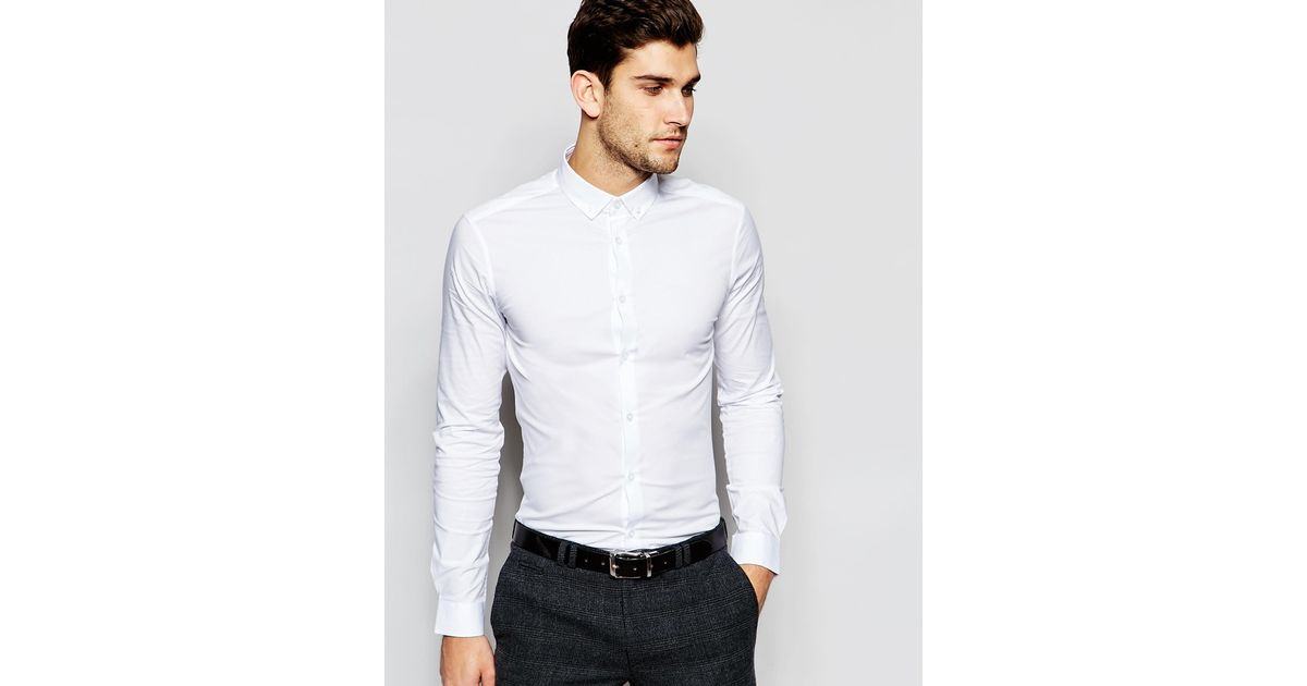 Asos skinny shirt in white with button down collar white for White button down collar shirt