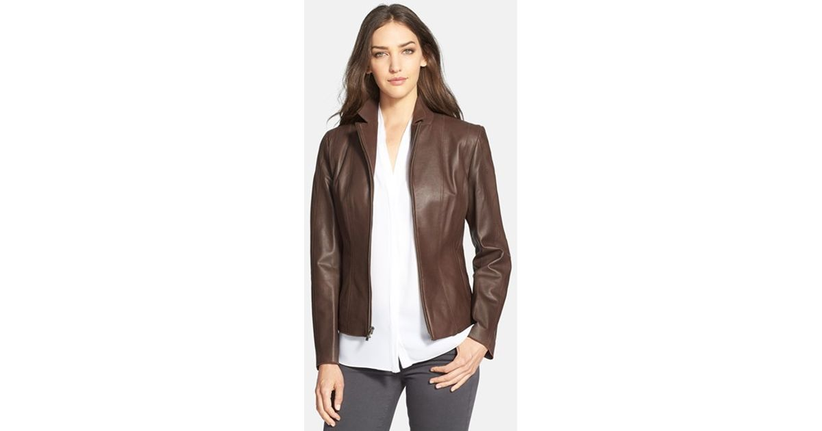 Lyst Cole Haan Notch Collar Lambskin Leather Jacket In Brown