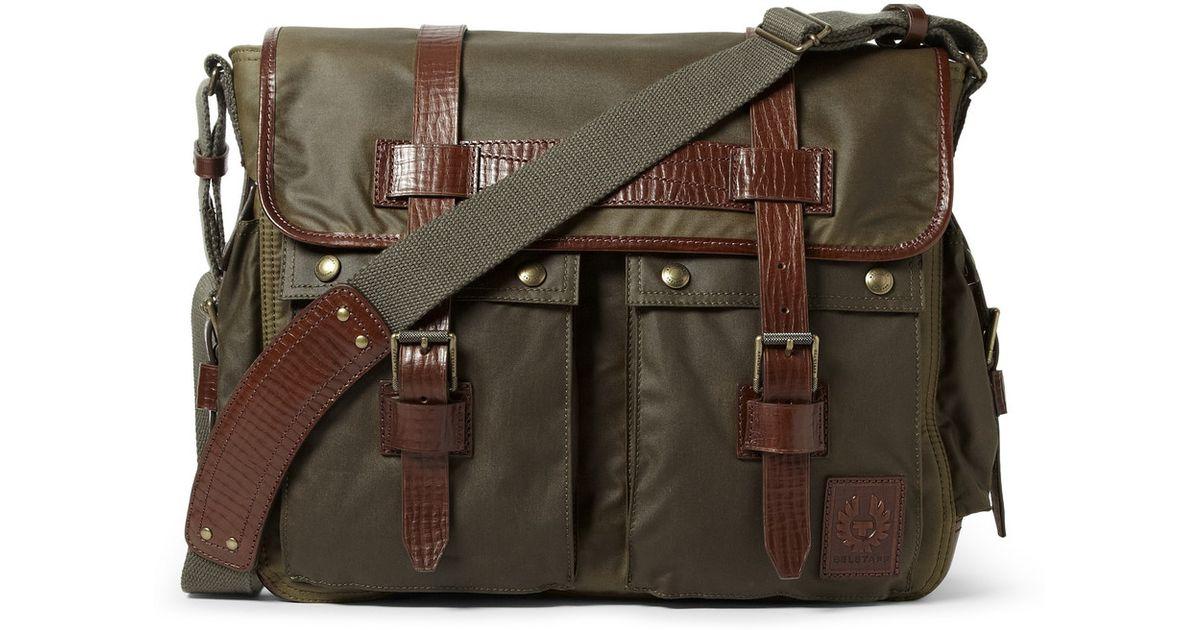 size 7 50% off cheap Belstaff Green Bromfield Waxedcotton Messenger Bag for men