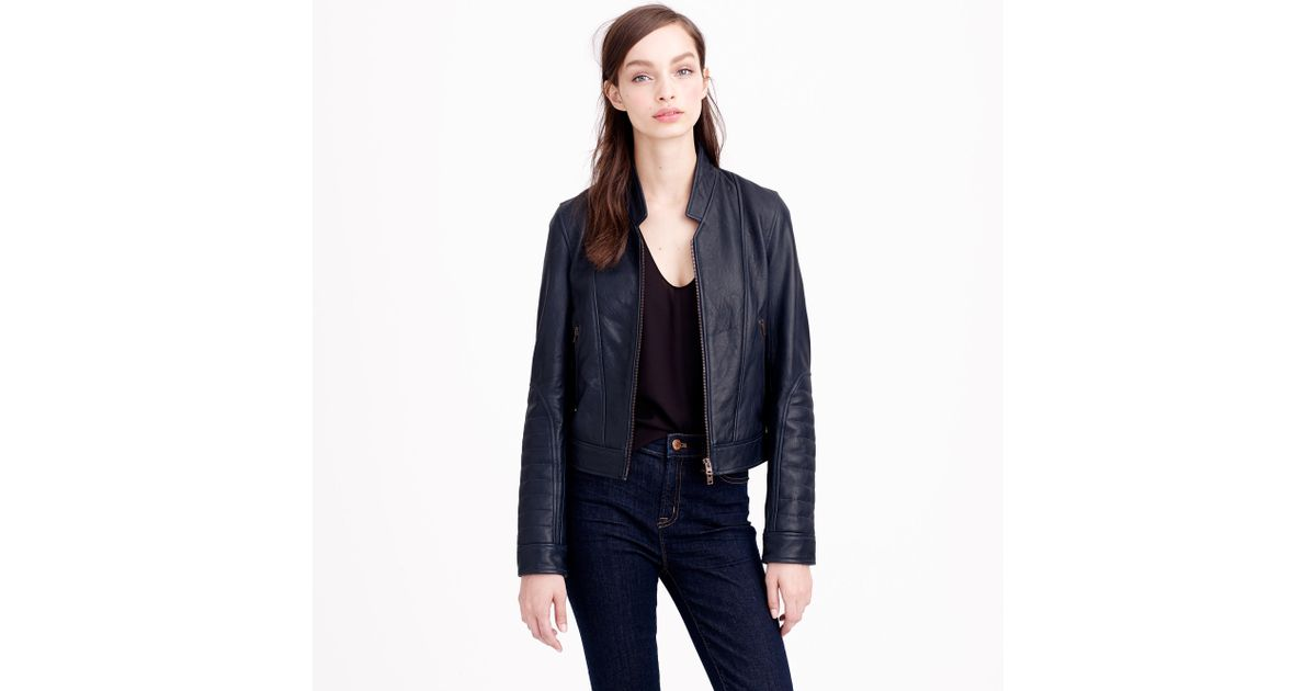 12c56ab27 J.Crew Blue Collection Standing-collar Leather Jacket