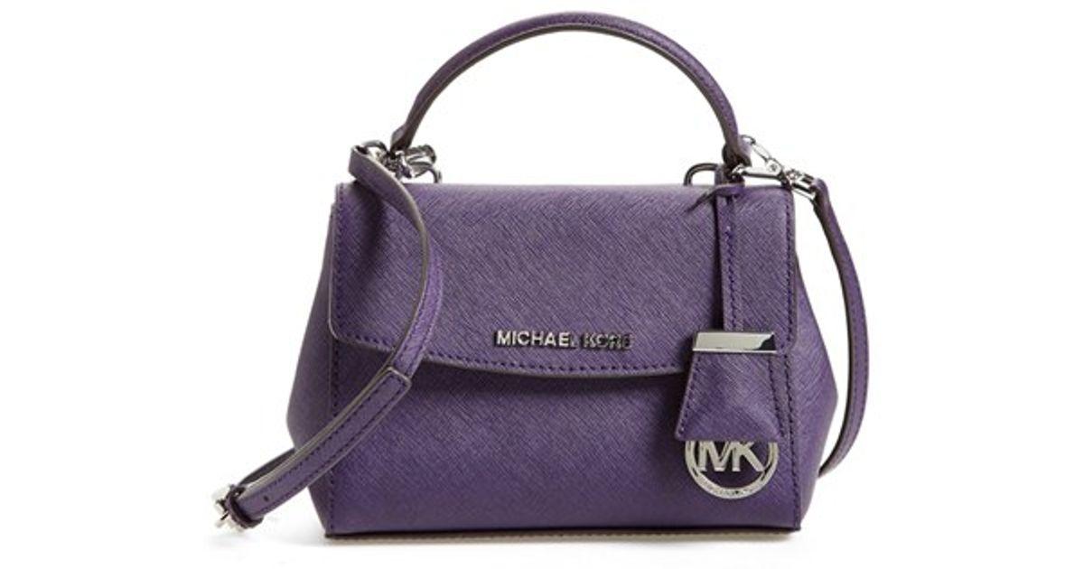 dcabe6d26289 Lyst - MICHAEL Michael Kors  extra Small Ava  Leather Crossbody Bag - Purple  in Purple