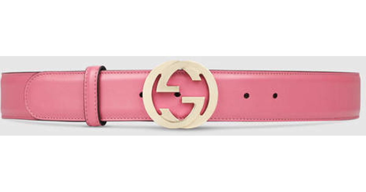 1f53fda9d82 Lyst - Gucci Leather Belt With Interlocking G in Pink