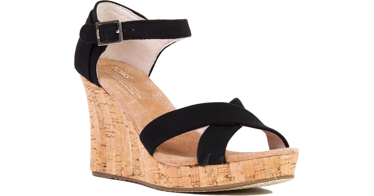 e3a0c82ddff Lyst - TOMS Strappy Black Canvas Cork Wedge Sandals in Black